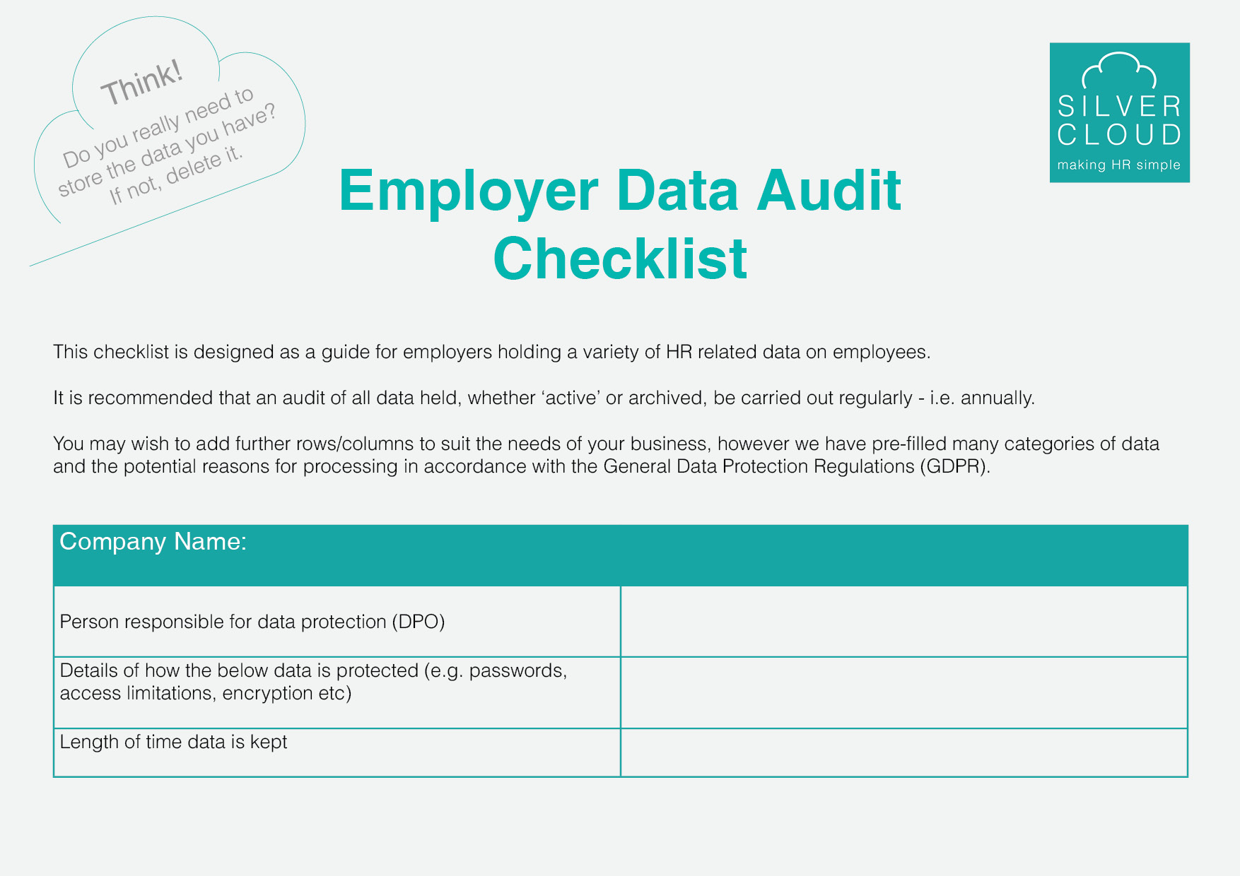 Employer Data Audit Checklist